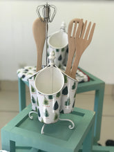Load image into Gallery viewer, Rotating utensil holder, winter tree line