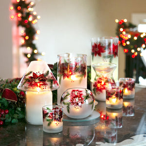 Poinsettias - Jar Candle Holder
