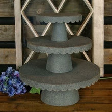 Load image into Gallery viewer, Scalloped Metal Galvanized Cake Stand