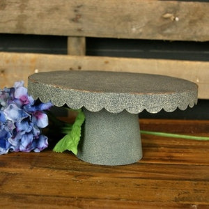 Scalloped Metal Galvanized Cake Stand