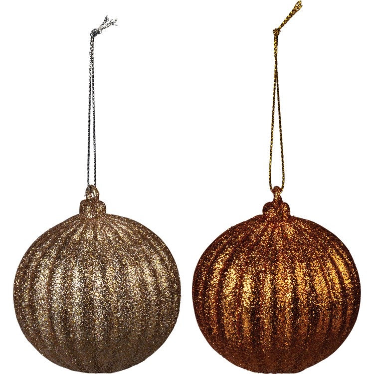 Orange Glitter Ornament Set of 2