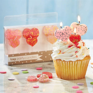 Heart Shaped Party Candles - Set of 6