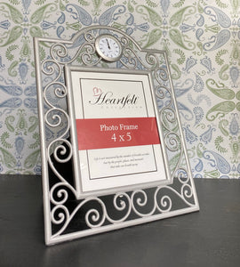 Silver Ornate Photo Frame With Clock