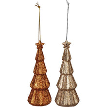 Load image into Gallery viewer, Glitter Tree Ornament -Set of 2 orange