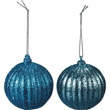 Load image into Gallery viewer, Turquoise Glitter Ornament Set of 2