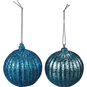 Turquoise Glitter Ornament Set of 2