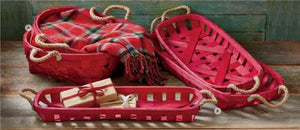 Red Oblong Woven Basket - 3 size options