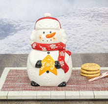 Load image into Gallery viewer, Snowman Cookie Jar With Joy Star