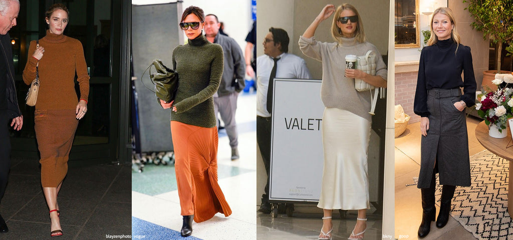 celebrity knit and skirt style