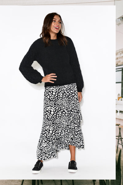 sienna black spot ruffle skirt ellie black balloon sleeve knit