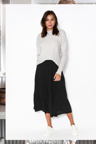 judy grey knit jumper norable black tiered skirt