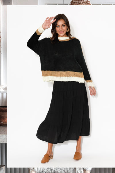 midtown black knit norabel black tiered skirt
