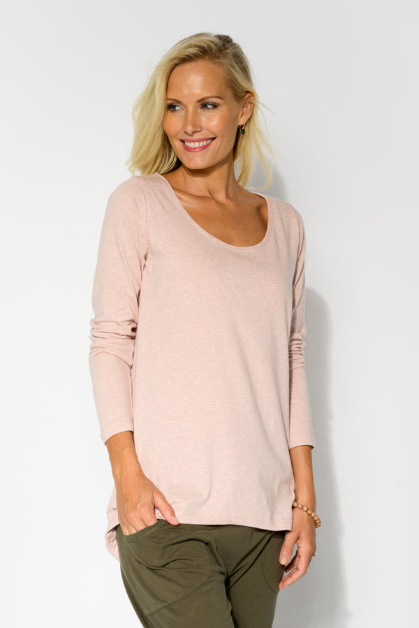 Pink Marle Cotton Long Sleeve Top - Blue Bungalow