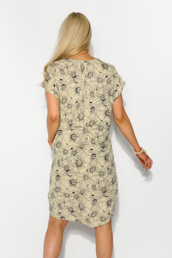 Beige Floral Shift Dress