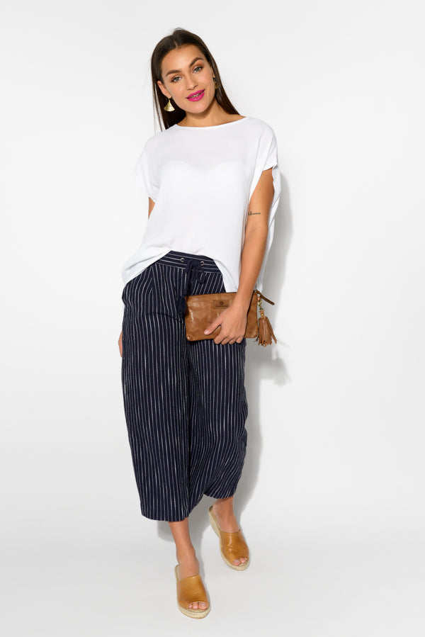 Tuscany Stripe Culotte Pant - Blue Bungalow