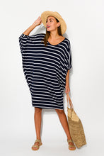 Tia Navy Striped Batwing Dress - Blue Bungalow