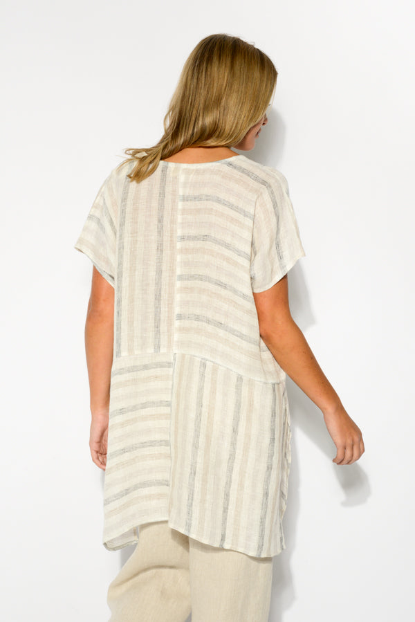 Beige Stripe Linen Top - Blue Bungalow
