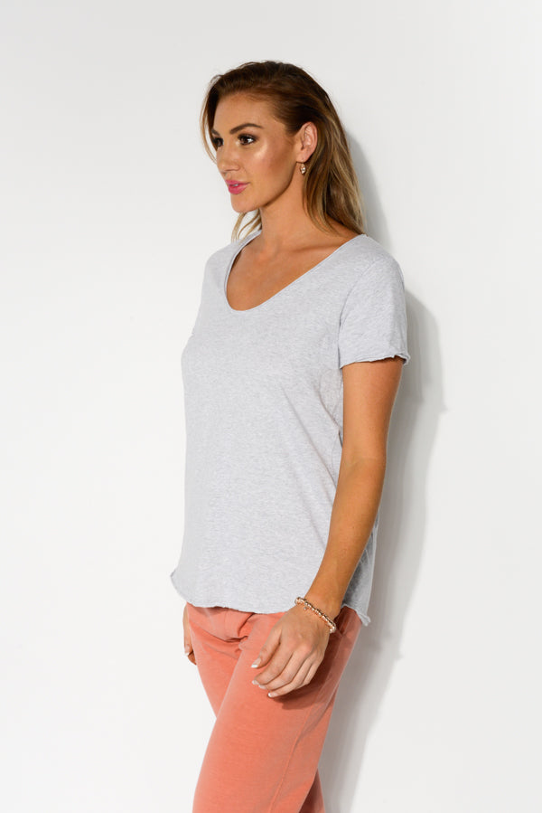 Grey Cotton Fundamental Vee Tee - Blue Bungalow