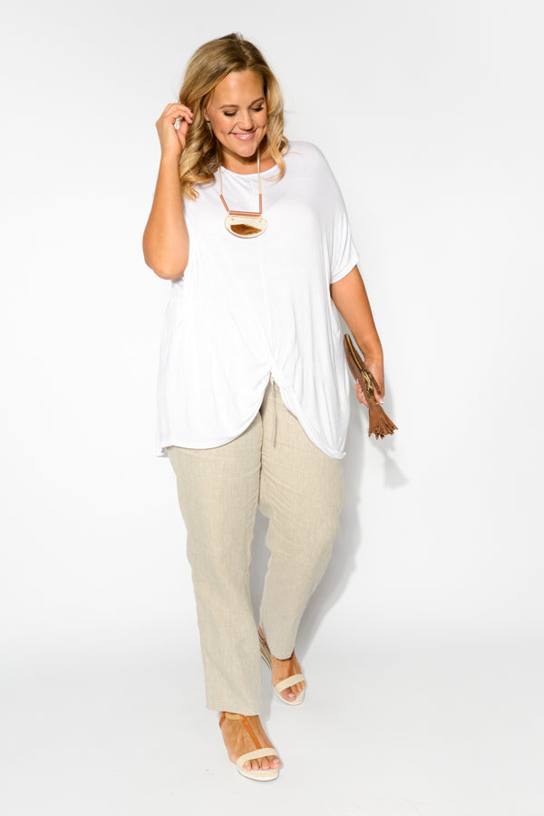 White Twist Hem Top - Blue Bungalow