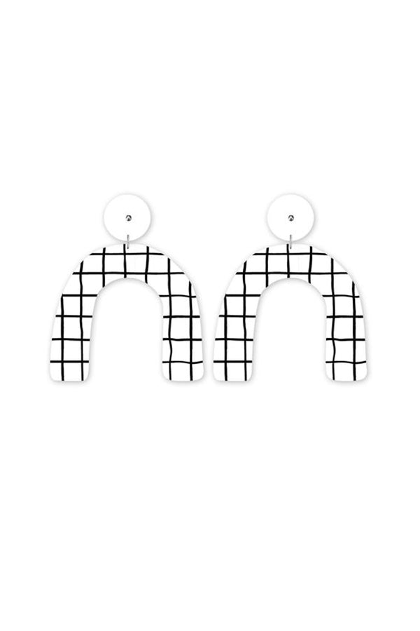 Grid Arch Stud Earrings - Blue Bungalow