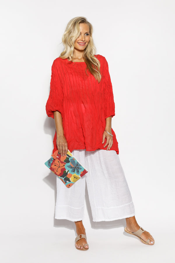 Red Crinkle Cotton Tunic Top - Blue Bungalow
