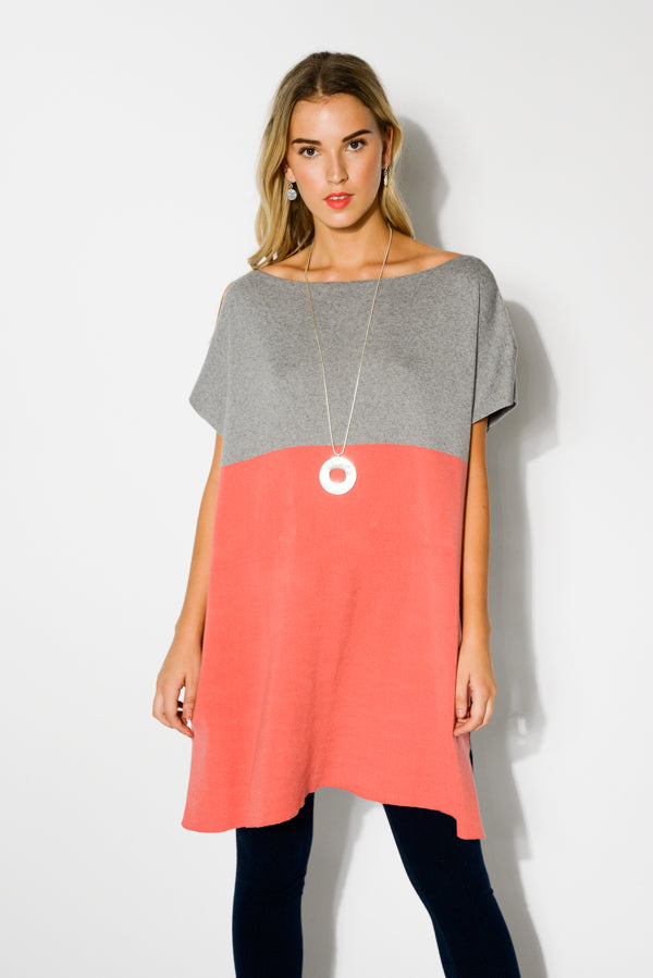 Bridget Coral Cashmere Knit Tunic Dress