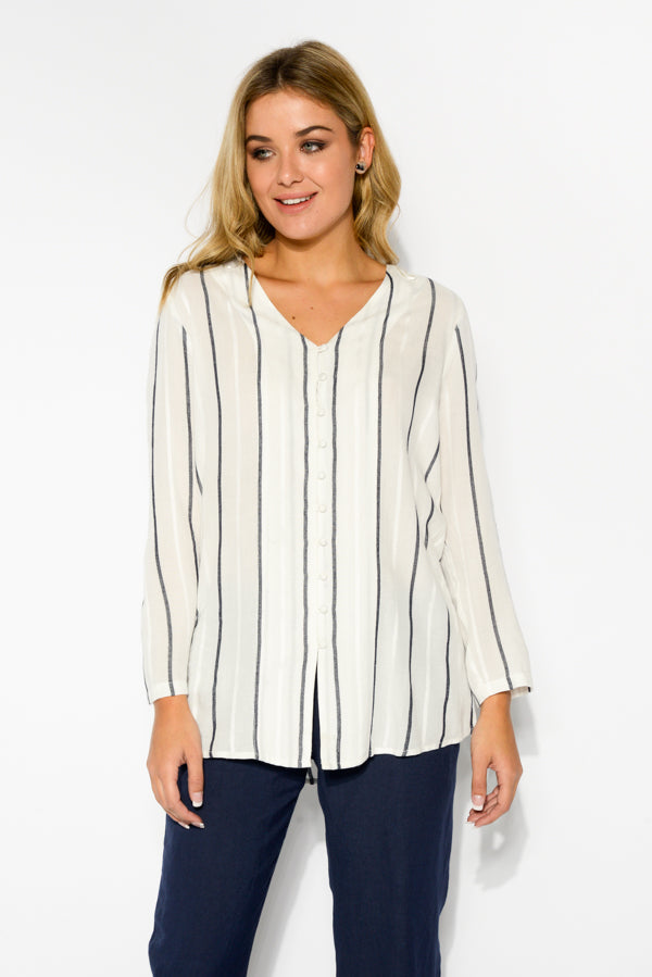 Violet Stripe Long Sleeve Top - Blue Bungalow