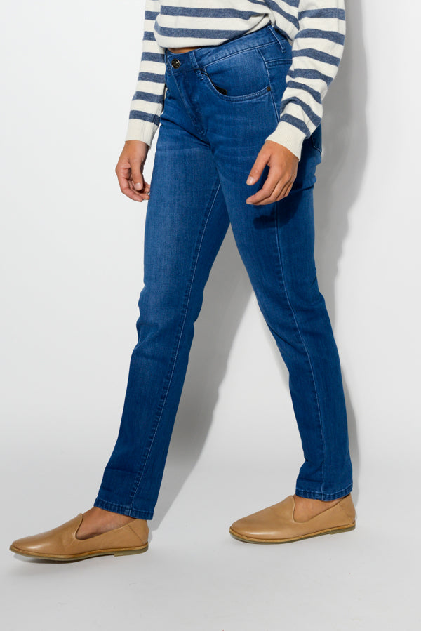 Blue Stretchy Straight Jean - Blue Bungalow