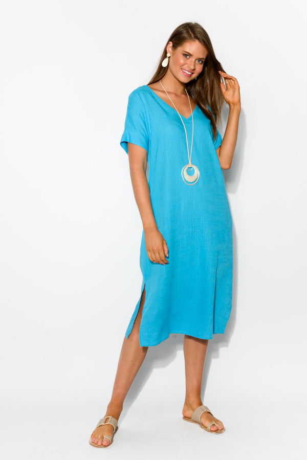 Hannah Blue Linen Cotton Dress - Blue Bungalow