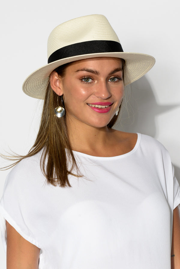 Black Band Jolie Fedora Hat - Blue Bungalow