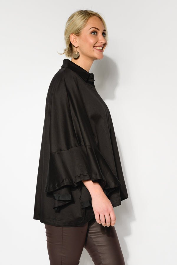 Black Cotton Poncho Top - Blue Bungalow