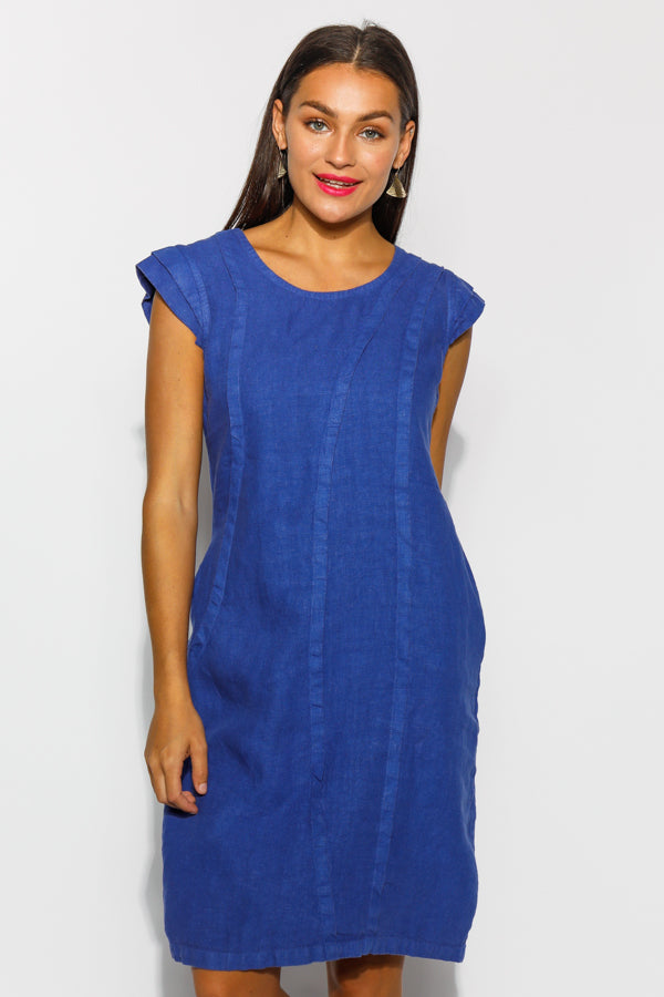 Verna Blue Linen Dress - Blue Bungalow