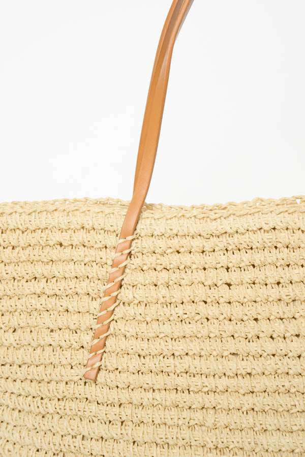 Natural Straw Shoulder Bag - Blue Bungalow
