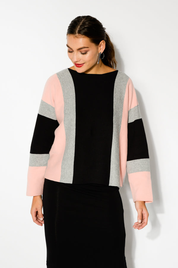 Pink Contrast Stripe Cotton Sweater - Blue Bungalow