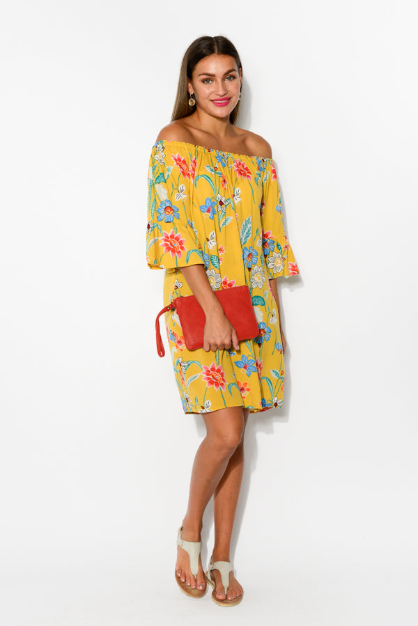 Mustard Floral Molly Off Shoulder Dress
