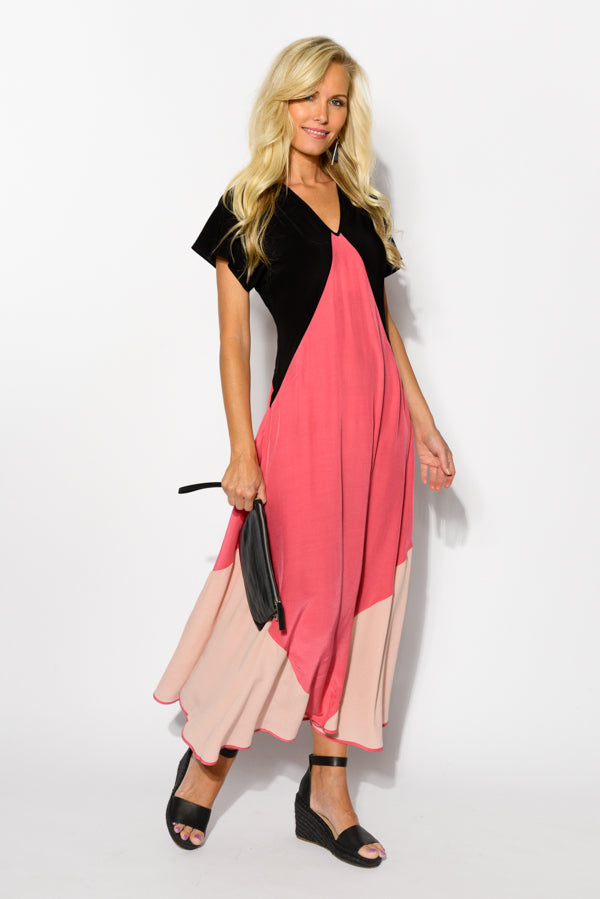 Pink Panel Floating Dress - Blue Bungalow