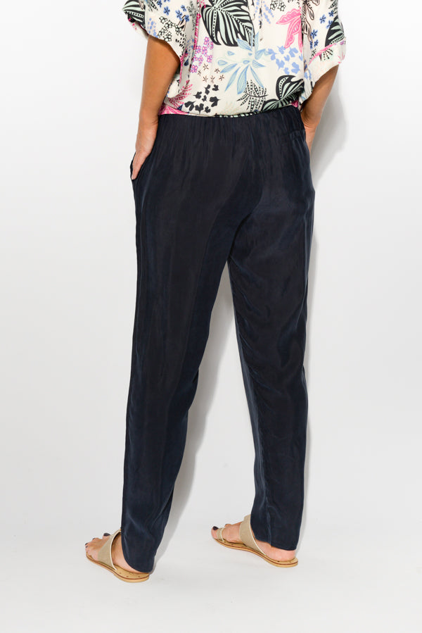 Ink Blue Cupro Blend Pant - Blue Bungalow