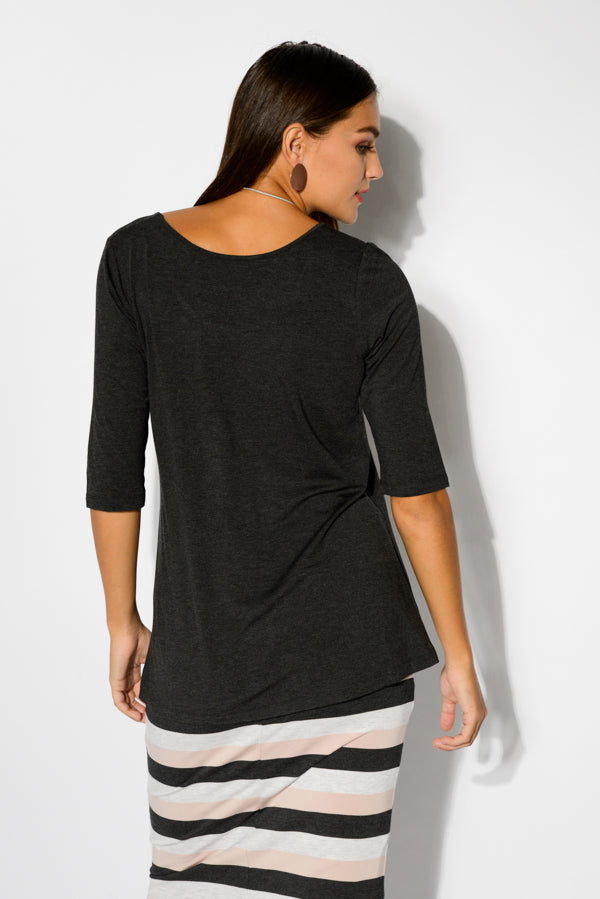 Aretha Charcoal Bamboo Top