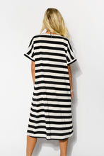 Black Stripe Relaxed Cotton Dress