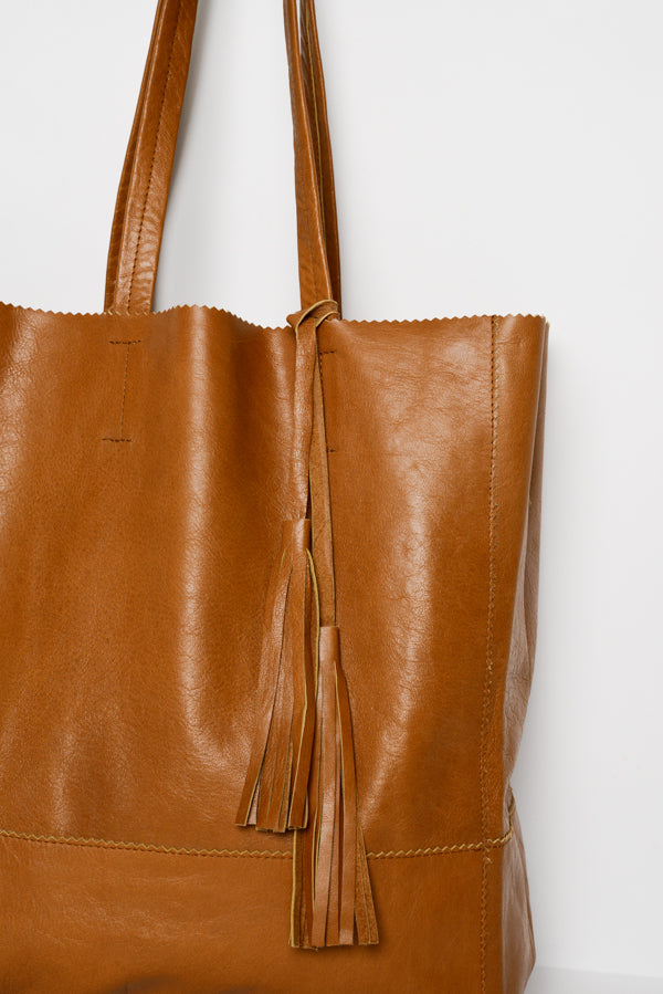 Karen Cognac Leather Tote Bag - Blue Bungalow