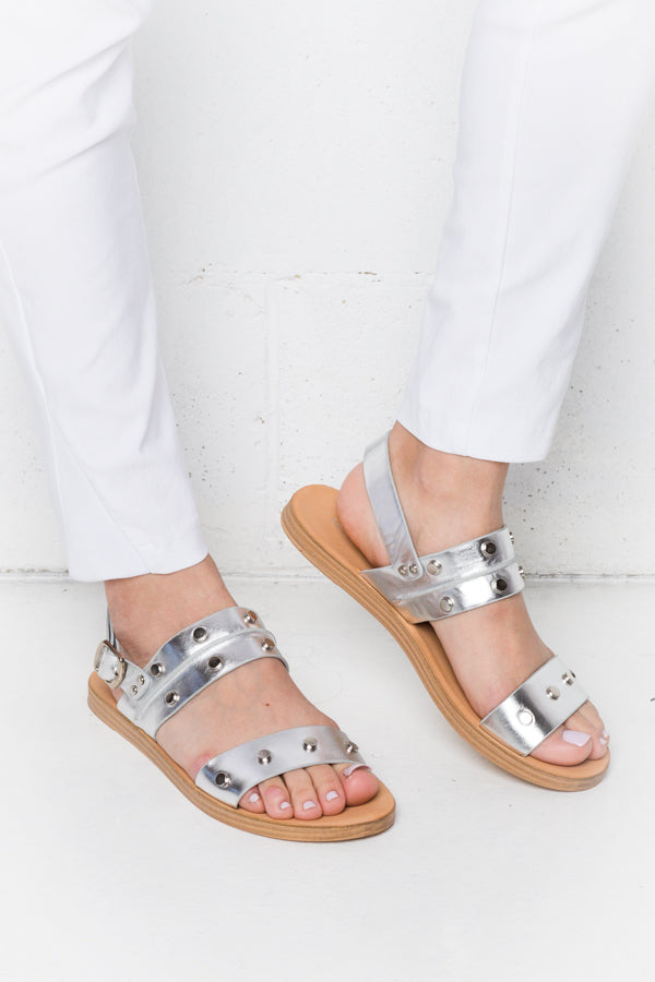 Evia Silver Sandals - Blue Bungalow