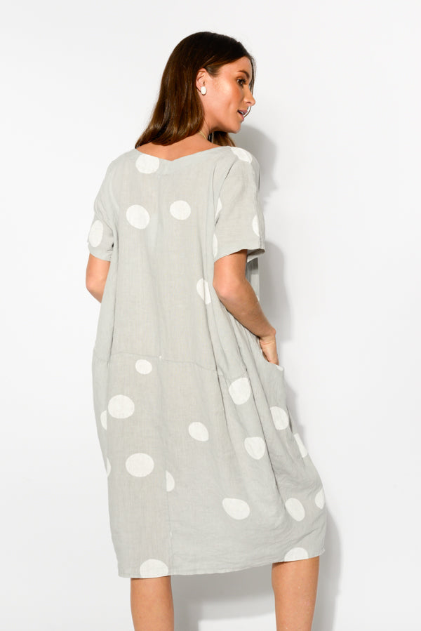 Ember Grey Spot Linen Dress - Blue Bungalow