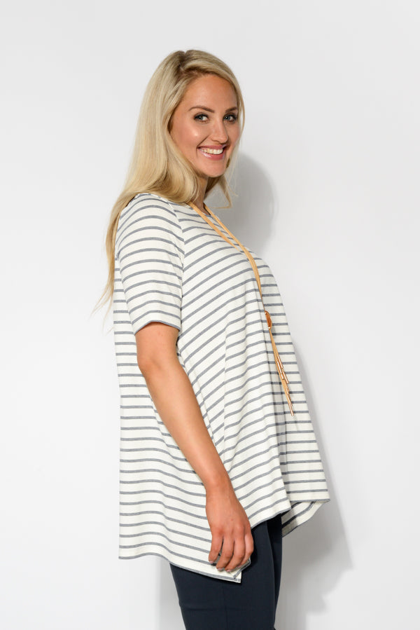Navy Stripe Oversized Top - Blue Bungalow