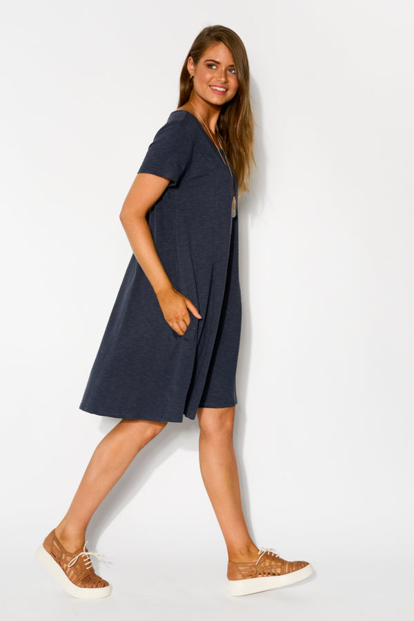 Aurora Navy Pintuck Dress - Blue Bungalow