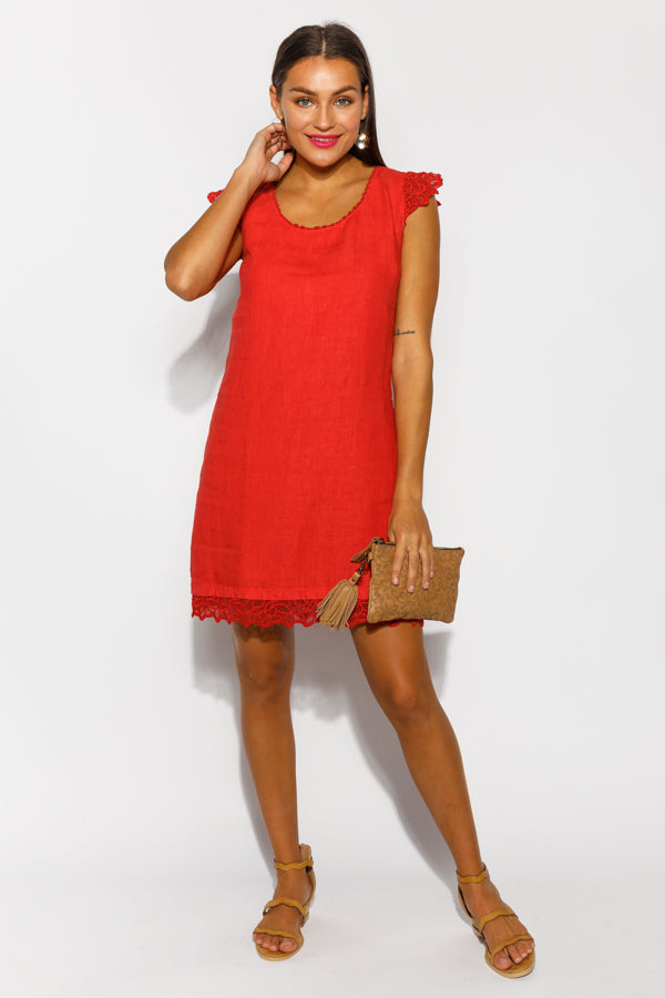 Ophelia Lace Red Linen Dress - Blue Bungalow