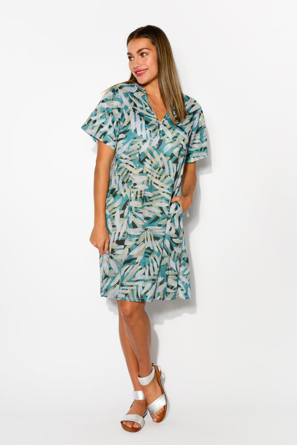 Mareeba Aqua Palm Cotton Dress - Blue Bungalow