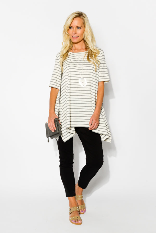 Black Stripe Oversized Top - Blue Bungalow
