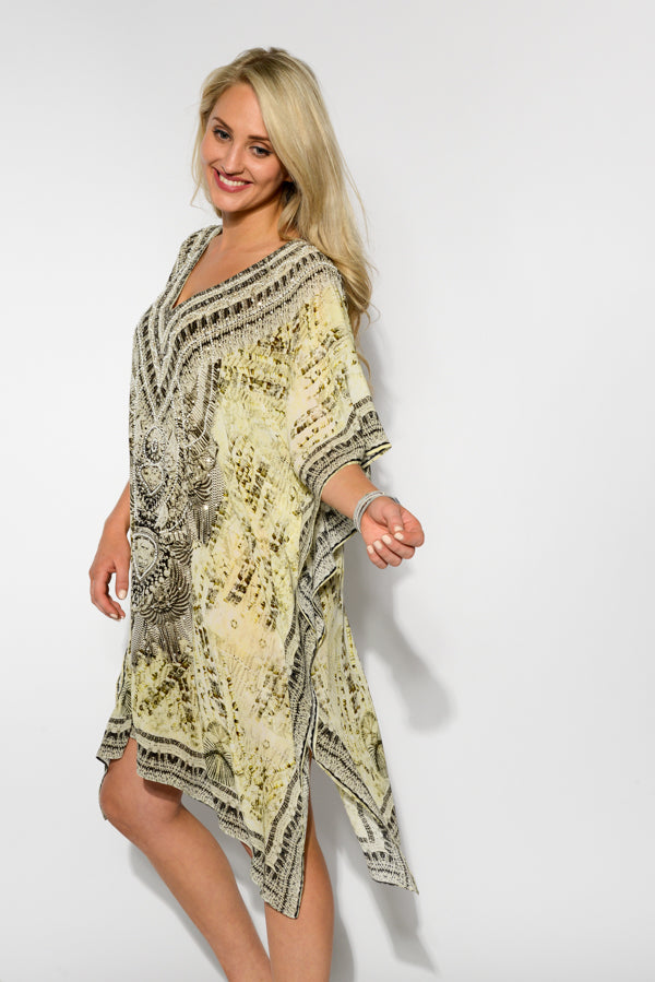 Egyptian Khaki Silk Kaftan - Blue Bungalow