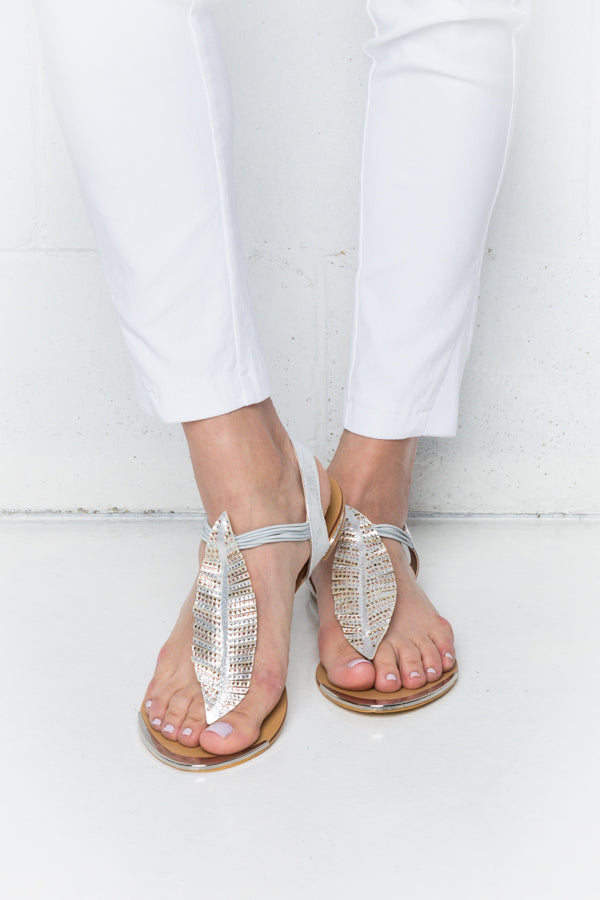 Metallic Autumn Leaf Sandals - Blue Bungalow