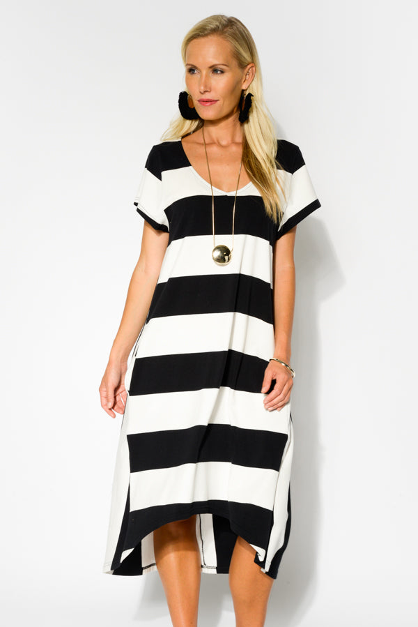 Stripe Cotton Contrast Dress